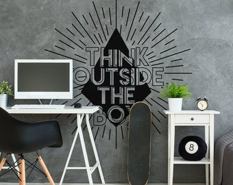 Think Outside The Box Wall Decal Sticker   Office Wall Decal   Home Office  Decor