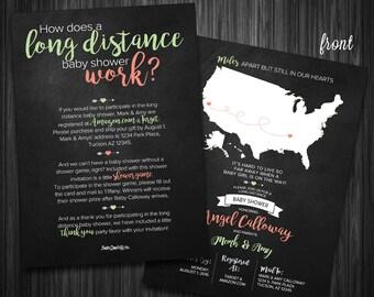 Chalkboard World Map - Virtual/Long Distance Shower Invitation - Digital File