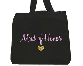 Maid Of Honor Tote Bag,Light Pink Maid Of Honor,Maid of honor gifts,maid of honor bags,Pink Gold tote bag,pink  gold maid of honor tote