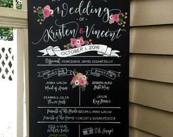 Custom Rustic UNFRAMED 18x36 Chalkboard Wedding Party Ceremony Sign
