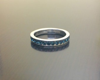 Sterling Silver Eternity Sapphire Engagement Band - Blue Sapphire Wedding Band - Sapphire Band - Silver Sapphire Eternity Band - Jewelry