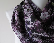 Floral Infinity Scarf, Black Purple Circle Scarf, Chiffon Infinity Scarf, Women Scarf, Loop Scarf, Fall Winter Spring Summer, Gift for Her