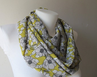 Floral Infinity Scarf, Yellow Grey Scarf, Soft Lightweight, Loop Scarf, Circle Scarf, Women Accessories, Fall Winter Spring Summer Fashion