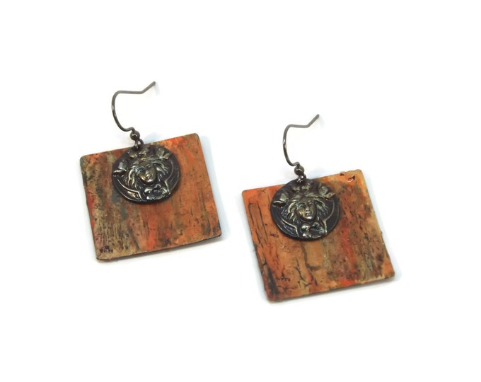 Witches Cauldron Hand Painted Halloween Dangle Drop Earrings, Orange & Black, Fall, Autumn, OOAK, One of a Kind