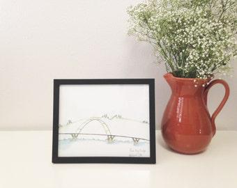 Art Print // Alsea Bay Bridge // Limited Edition Watercolor // Waldport Oregon // Bridge