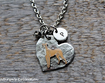 Greyhound Whippet Necklace, Greyhound Whippet Jewelry, Greyhound Gift, Heart Dog Jewelry