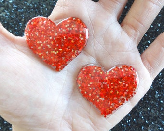5 pcs - Red Glitter Heart Resin Flatback Cabochon - 36mm - Kitsch - Decoden - DIY - Valentines Day