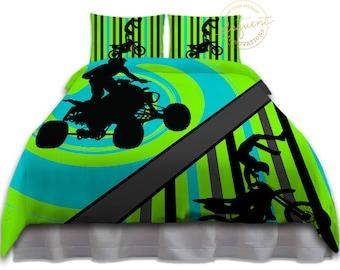 motocross bedding etsy de. Black Bedroom Furniture Sets. Home Design Ideas
