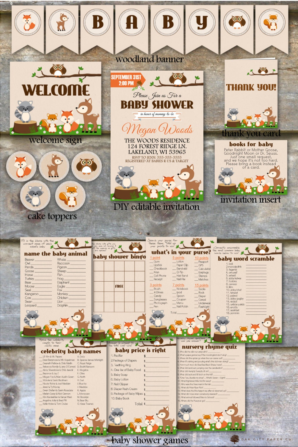 Woodland baby shower party package woodland animal baby for Animals decoration games