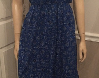 Vintage blue handkerchief western rodeo country dress by We3Ltd /size 7