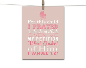 For this child I prayed, baby christian wall art, baby girl nursery decor, subway art, pink and beige nursery, religious wall art for kids
