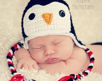 Crochet Penguin Ear-Flap Hat for baby boy or baby girl