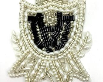 "Royal Crest Appliqué, All Beads and Rhinestones, 3.5"" x 2.5""  -B315-0390"