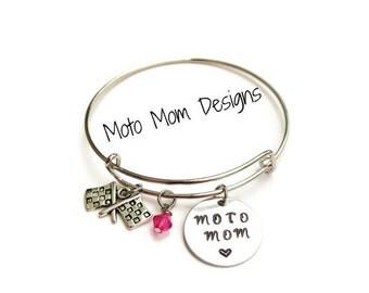 Motocross Mom - Moto Mom Jewelry - Motcross - Motocross Jewelry - Racing Jewelry - Personalized - Charm Bracelet - Checkered Flag