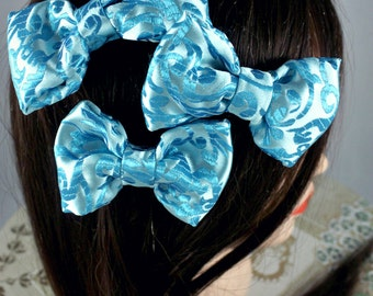 Bright Blue Embroidered Hair Bow - Small