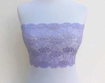 Light purple lace bandeau top. Elastic lace top. Wireless bra. Lavender lingerie. Lace lingerie.  Light purple bra. purple strapless
