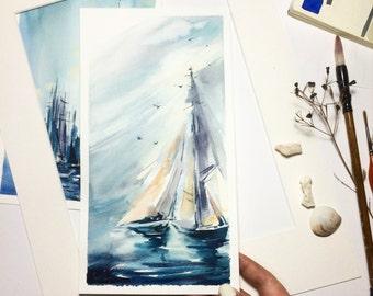 Nautical Original Watercolor Painting, Sailboats Painting, Seascape Painting, Sea, Boats, Watercolour Art
