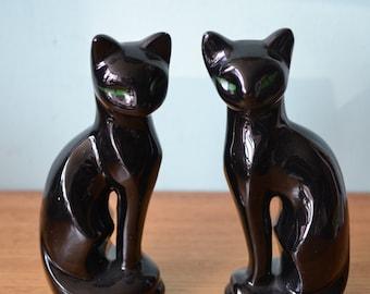 Retro black cat ceramic figurines funky 70s