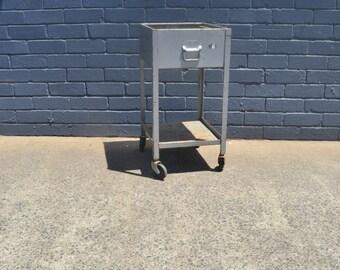 Vintage industrial metal trolley two tier funky