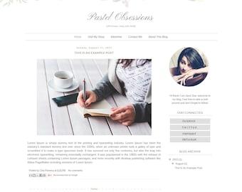 Blogger Template Responsive - Watercolor Floral Blog Design - Blog Theme - Blog Layout - Blogspot Template