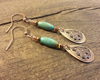 Teardrop Earrings, Copper Earrings, Metal Earrings, Boho Earrings, Turquoise Earrings, Drop Earrings, Dangle Earrings