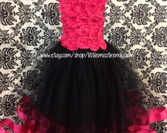 Black and Pink Flower Girl Tutu Dress, Pink and Black Tutu Dress, Tutu Dress with Ribbon Trim, Couture Black and Pink Flower Girl Tutu Dress