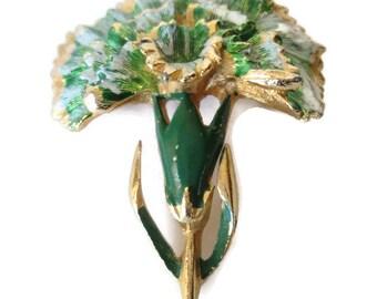 Vintage Green Enamel Carnation Flower Brooch Signed Beatrx