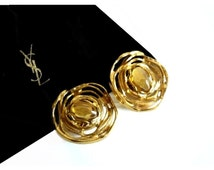 YVES SAINT LAURENT ~ Authentic Vintage Gold Plated Round Clip On Earrings - Poured Glass - Goossens