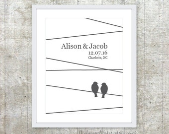 Custom Wedding Print - Love Birds Poster - Newlyweds Personalized Gift - Engagement Gift - Keepsake Art Print
