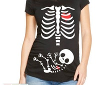 Halloween Maternity Shirt Skeleton Baby Iron Transfer INSTANT DOWNLOAD