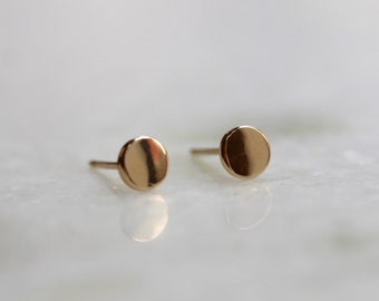 Solid 10K Gold Dot Studs, 10k Rose Gold, 10k Yellow Gold, Circle Stud Earring, Round Studs, Pure Gold, Real Gold, Tiny Stud Earrings