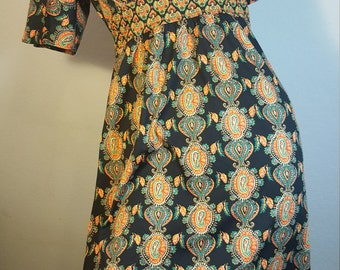 FREE  SHIPPING  Vintage Boho Abstract Paisley Dress