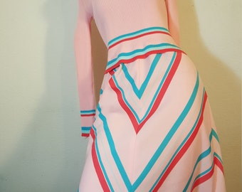 FREE  SHIPPING  1970 Abstract Geometric  Maxi