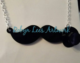Formal Black Laser Cut Moustache and 3D Top Hat Necklace on Various Lengths of Silver or Beaded Chain