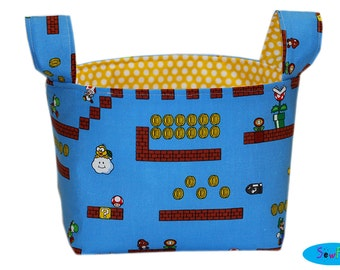 Bedroom Storage Bin | Boys Room Storage Basket | Desk Organizer | Nintendo Bin | Mario Brothers Basket