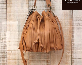 Fringe leather bag, bucket purse, fringed crossbody bag