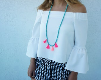 Multi Tassel Necklace - Long Beaded Necklace - Turquoise Necklace - Neon Pink Tassels - 1 piece