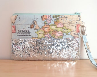 World map clutch, sequin clutch bag, world map wristlet, destination wedding clutch, silver bridesmaid clutch, world map purse, atlas bag