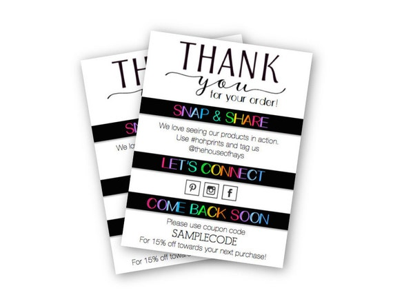 premium etsy shop thank you for your order insert cards