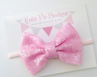 BABY PINK Sparkle sequin hair bow-your choice of adjustable headband, nylon headband or hair clip. Girls headband, toddler headband,hair bow