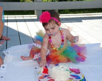 1st Birthday Rainbow Tutu, Rainbow Tutu, Circus Tutu, Carnival Tutu, Cake Smash Tutu