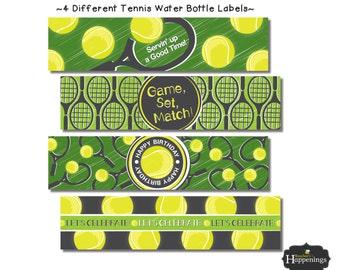 Tennis Birthday Water Bottle Labels Tennis Labels Tennis Bottle Labels Tennis Chalkboard Tennis Ball Digital File by Busy bee's Happenings