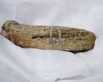 HALF PRICE SALE Snowflake winter drop silver pendant earrings