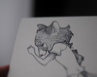 Werewolf Drawing, Werewolf Postcard, Werewolf Illustration, Hipster Werewolf, Dancing Werewolf, Werewolf Transforming, Black and White Art