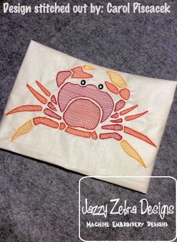 Crab Color Sketch Embroidery Design - crab Sketch Embroidery Design - beach Sketch Embroidery Design