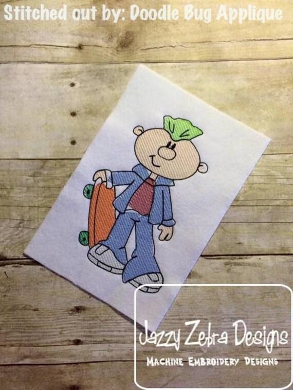 Skater Boy with Skateboard Sketch Embroidery Design - skateboard Sketch Embroidery Design - boy Sketch Embroidery Design - skateboarding