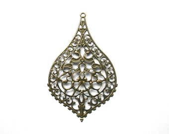 "8 - Teardrop Filigree Lightweight Metal Earrings Antique Bronze Necklace Paintable Vintage Jewelry 3"" long x 2"" wide"