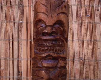 Vintage Wooden Hand Carved Tiki  - Vintage Tonga Tiki Wood Carving - Vintage 1970's Tiki Wall Wood  - Vintage Hand Made Carved Wood Tiki