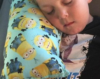 Seat Belt Pillow- Minions- Kid's Travel Pillow-Booster Seat Pillow