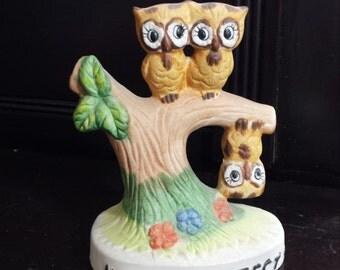 Vintage 70s Home Decor Porcelain figurine 3 Owls No One's Perfect cute